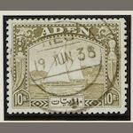 Aden: 1937-51: A used collection in varied condition on leaves inc. 1937 dhows to 10R., 1939-48 complete set, 1951 values to 10/-, also Aden states inc. 1942-46 sets, 1948 Silver Weddings, etc., stated cat. £880‡ (851)