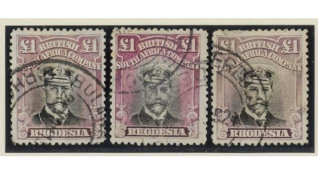 Rhodesia: 1913-1922: A used collection of Admiral Heads on leaves with a good range of dies and perfs. inc. ½d. perf. 14x15, 1d. perf. 13½, values to 7/6 (2), 10/- (4), £1 (4), a few dubious postmarks, etc. (987)