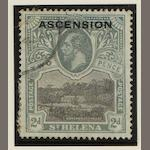 "Ascension: 1922: 2d. with 'line though P of POSTAGE"" SG.4a used, indistinct cancel and some paper adhesion. (866)"
