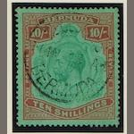 Bermuda: 1918-22 2/6 & 4/-, 1924-32 2/6 & 10/-. all c.d.s. used, cancellations not guaranteed. (875)