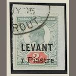 British Levant: 1906: 1pi. on 2d. provisional used on piece with Beyrout c.d.s., R.P.S. cert. (1960). (881)