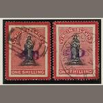 British Virgin Islands: 1888: 4d. on 1/-, two used copies on toned and white paper (SG.42, 42d). (883)