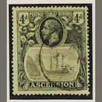 Ascension: 1924-33: 4d. values showing 'broken main mast' variety (SG.15a), a few short perfs. (854)