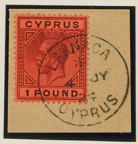 Cyprus: 1921-3: £1 purple and black on red, fine used on piece tied by Larnaca 4 JY 24 c.d.s. (902)