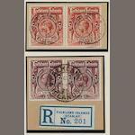 Falkland Islands: 1912-20: 5/- deep rose-red and maroon shades, two fine used pairs on pieces with c.d.s. handstamps. (906)
