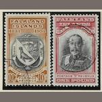 Falkland Islands: 1933: Centenary set fine used with the ½d., 1d., 1/- and possibly others with Madame Joseph forged c.d.s. (909)