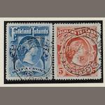 Falkland Islands: 1898: 2/6 and 5/- both fine used. (918)