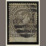 Falkland Islands: 1878-9: 1d. on watermarked paper (SG.2a) used with corner crease, R.P.S. cert. (1987) that states 'creased and stained'. (922)