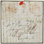 Covers: Maritime: PENANG SHIP LETTER: 1838 EL to UK from E. India Company Army officer in Penang – part of an original find; endorsed 'Per HMS Victor' and with very fine strike of the boxed dated red 'PENANG/SHIP LETTER/Bearing' mark – very few items recorded. Fine strike of the scarce red 'INDIA LETTER/DEVONPORT' (slightly overstruck and affected by closed tear) and '2/4' charge.  (1194)