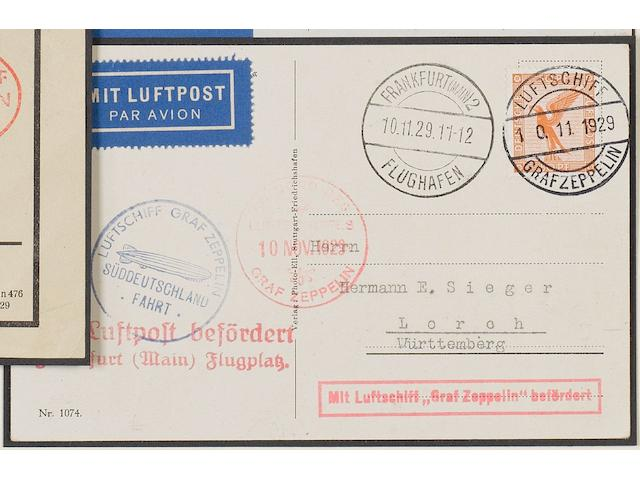 Covers: Zeppelin: 1929-36 Germany: A good collection of internal flight mail inc. scarcer items, many with 'on board' cancellations with pilot-signed card and elusive local flights, a very comprehensive group. (226)