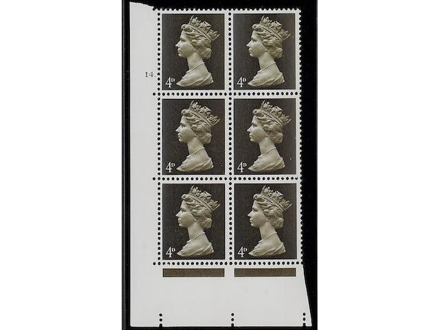 1967-70 Sterling Machins: 4d. olive-brown GA two bands head B in a cylinder 14 dot block of six, a well centred block of which very few remain intact.