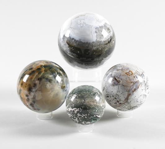 Four orbicular Jasper spheres (Madagascar) largest 11cm diameter, smallest 6cm diameter. 8