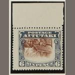 Aitutaki: 1920: 6d. red-brown and slate with top margin and large part o.g., centre inverted, SG28var., £550. B.P.A. Certificate (2008). (63)