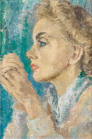 Cecil Higgs (South African, 1900-1986) Portrait of Hendrina Bouman