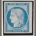 France: 1862 15c. green and 20c. blue (variety distorted frame) imperf. reprints available for postage, both mint.  (834)
