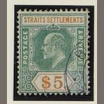Malayan States: Straits Settlements: 1902-03 $5 dull green and brown-orange, SG121. (550)