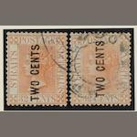 "Malayan States: Straits Settlements: 1883 ""Two Cents"" on 32c. pale red (2) both types, SG59-60. Cat. £475.00 (751)"