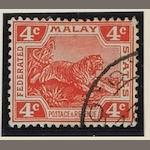 Malayan States: F.M.S.: 1904-22: 4c. scarlet, die II, watermark upright with M.O.O. cancel. SG.38b Cat.£375 (539)