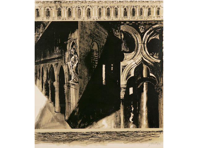John Piper C.H. (British, 1903-1992) Death in Venice: side panel right Screenprint, 1973, on Arches, signed in pencil, printed by Kelpra Studios, published by Marlborough Fine Art,  780 x 680mm