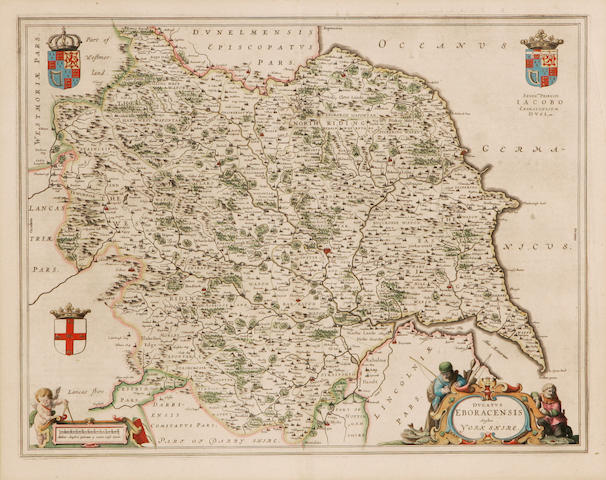 Blaeu (W. & J.), 17th Century Ducatus Eboracensis, anglice York Shire engraved map, hand-coloured in outline, 43 x 54cm