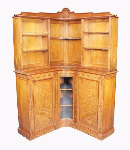 An unusual Victorian burr walnut, tulipwood crossbanded and line inlaid corner bookcase