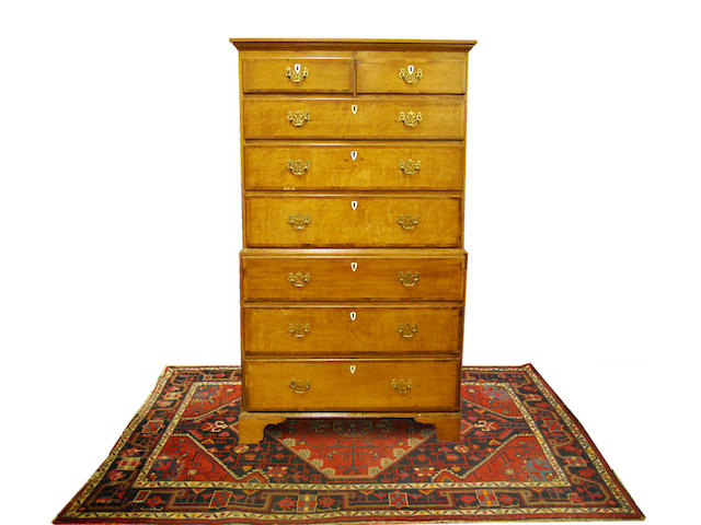 A George III and later oak chest on chest