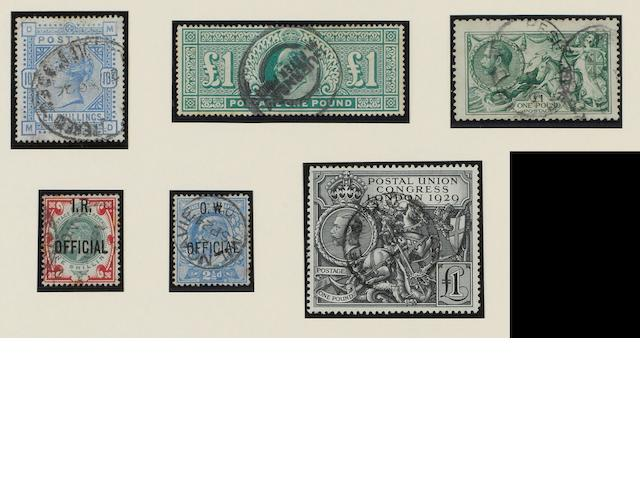 A mint and used collection in mixed condition contained in an album, with 1840 1d., 1883 10/-, K.EDVII with shades and printings incl. 10/- and £1., 1913 Seahorses to £1, 1929 P.U.C. £1, etc., Officials, incl. 1902 I.R. 1/-, 1902 O.W. 2½d., 1903 Admiralty incl 1½d. and 2d, Postage Dues, also Lundy, Herm Island and 1953 Coronation omnibus issues.  (503)