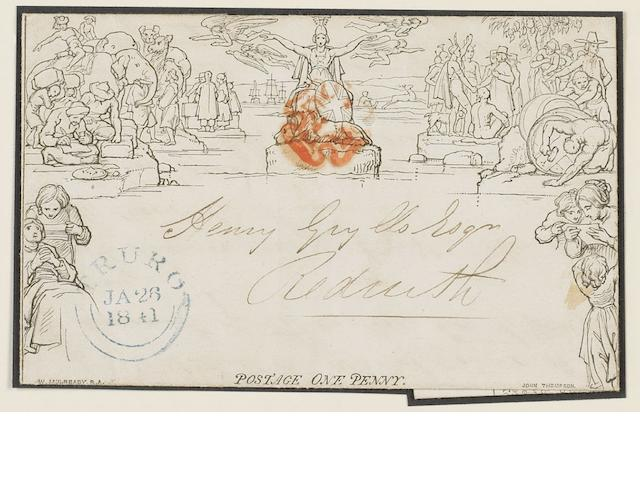 "Mulready 1840 1d lettersheet A80 cancelled with a red MC and a blue ""TRURO"" datestamp on Jan 26 1841. Some light creasing."