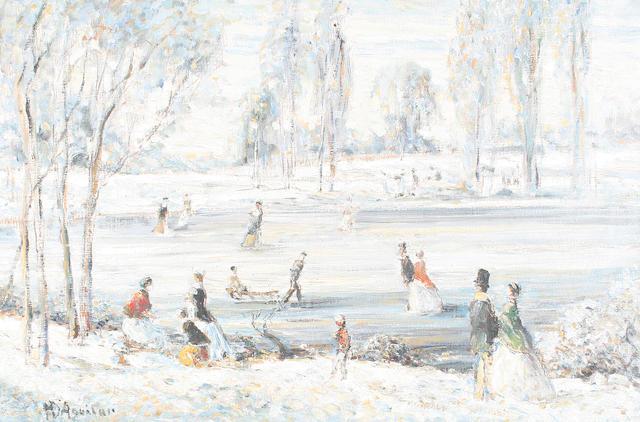 Baron Michael D'Aguilar (20th Century) 'Scene de l'hiver' Snow scene unframed
