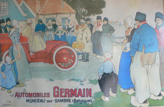 An 'Automobiles Germain' advertisng poster, 1904