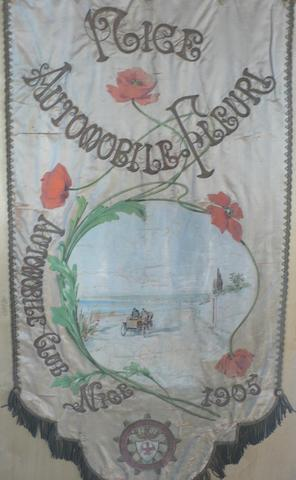 An Automobile Club de Nice embroidered club standard, 1905,