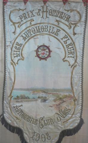 An Automobile Club de Nice embroidered 'Prix d'Honneur' club standard, 1908,
