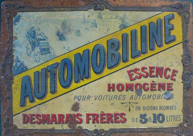 An 'Automobiline Essence Homogène' printed tin advertising sign, circa 1902,