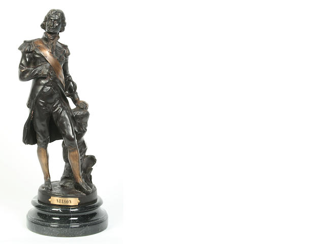 Sylvain Kinsburger (French, 1855-1935): A bronze figure of Nelson