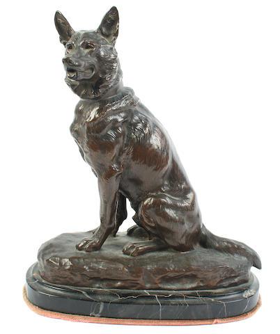 Louis Riche (French, Fl. early 20th century): A bronze model of a German Shepherd Dog