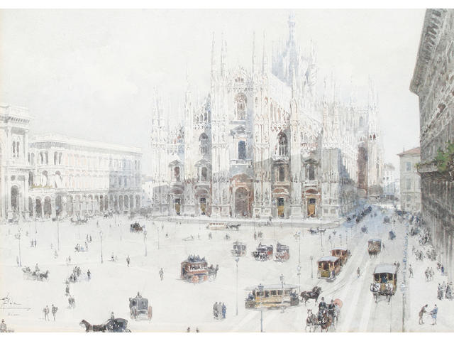 Paolo Sala (Italian, 1859-1924) Piazza Duomo, Milan