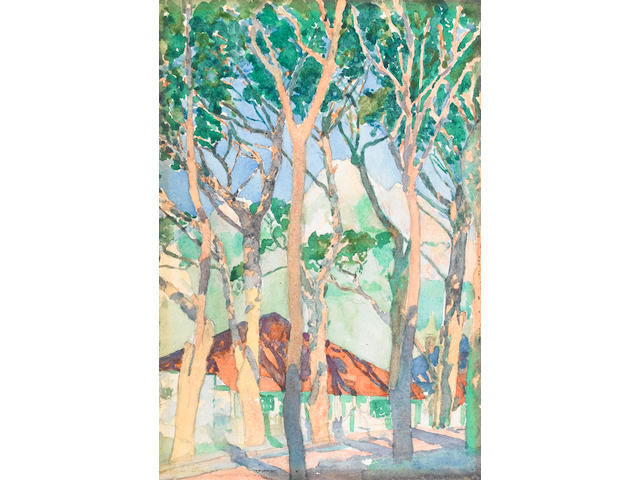 Jacob Hendrik Pierneef (South African, 1886-1957) Cottages among trees