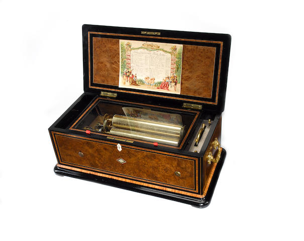 A fine and rare quatre-revolver 'Harpe Harmonique-Piccolo Zither' cylinder musical box, retailed by