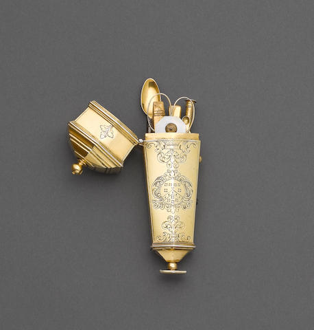 An 18th century silver-gilt etui, unmarked,