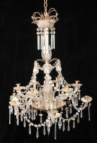 A 19th century cut glass twelve light chandelier