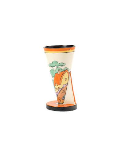 Clarice Cliff 'Orange Roof Cottage' a Yo vase (shape 378), circa 1930