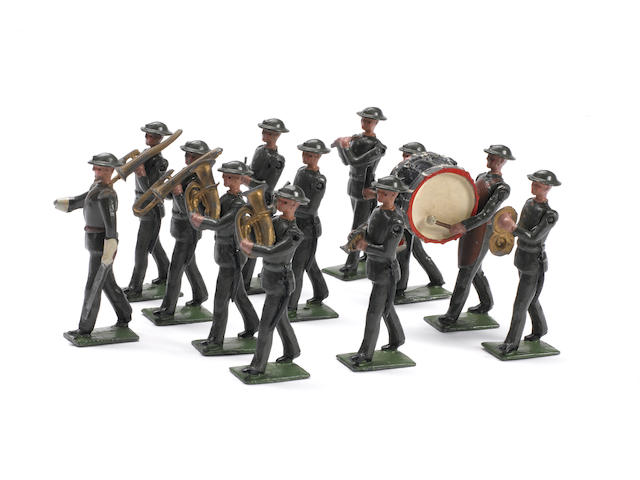 Britains EXTREMELY RARE set 1290, Band of the Line IN STEEL HELMETS 12