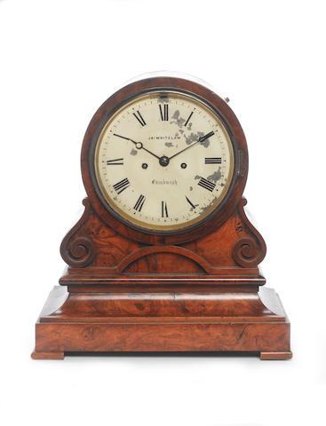 A mid to late 19th century walnut bracket clock Jas. Whitelaw, Edinburgh