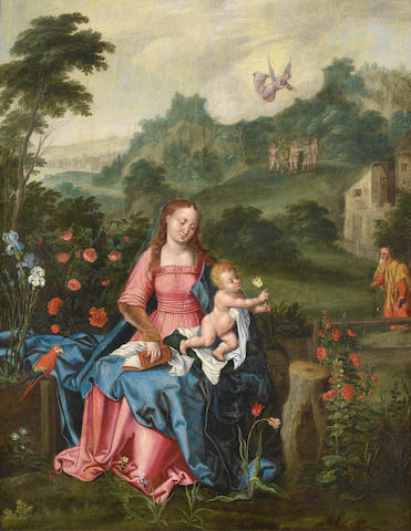 Antwerp School, 16th Century The Madonna and the Child before an open landscape, with the Annunciati
