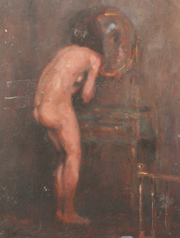 Ken Moroney (British, born 1949) Female nude looking in the mirror