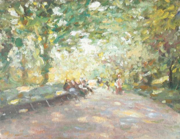 Ken Moroney (British, born 1949) People in a leafy park