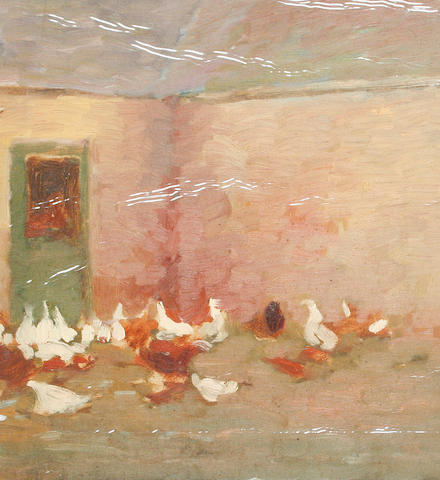 Ken Moroney (British, born 1949) Chickens in a yard with a further oil sketch of man fishing (on board verso)