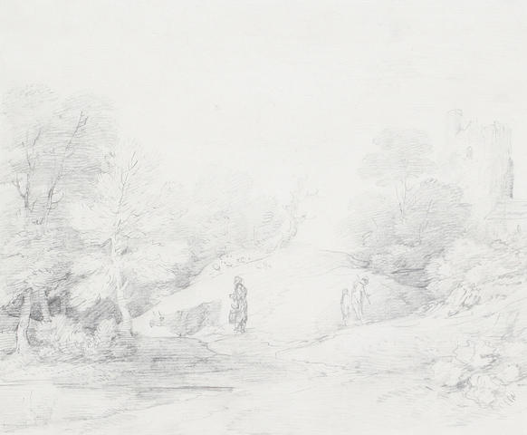Attributed to Gainsborough Dupont (British, 1754-1797) Figures in a landscape