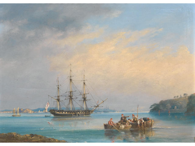 Nicholas Matthew Condy (British, 1818-1851) Frigate at Anchor, Plymouth