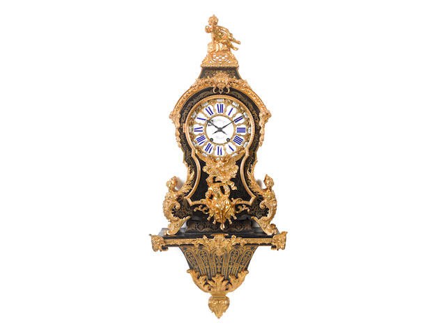 A mid to late 19th century French inlaid tortoiseshell wall bracket clock Balthazar Paris